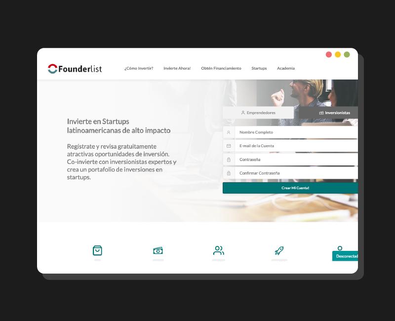Diseño web Founderlist